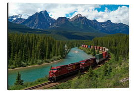 Cuadro de aluminio  Morants Curve, Bow River, Canadian Pacific Railway, near Lake Louise, Banff National Park, UNESCO Wo - Hans-Peter Merten