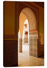 Lienzo  Large patio columns with azulejos decor, Islamo-Andalucian art, Marrakech Museum, Marrakech, Morocco - Guy Thouvenin