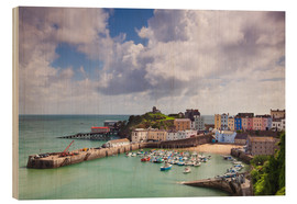 Cuadro de madera  Tenby Harbour, Pembrokeshire, West Wales, Wales, United Kingdom, Europe - Billy Stock