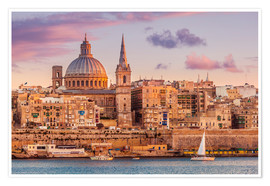 Póster Valletta at sunset