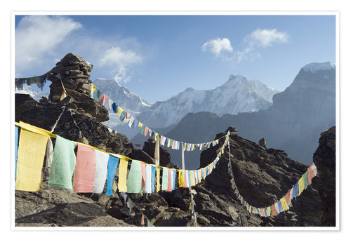 Póster Prayer flags, view from Gokyo Ri