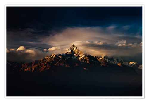 Póster Machapuchare (Machhapuchhre) (Fish Tail) mountain, in the Annapurna Himal of north central Nepal, Ne