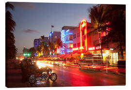 Lienzo  Ocean Drive, South Beach, Art Deco district, Miami Beach, Miami, Florida, United States of America, - Angelo Cavalli