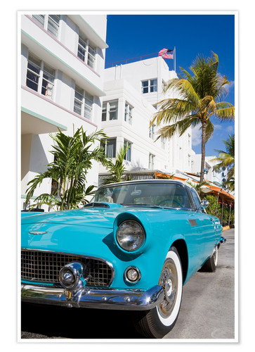 Póster Avalon Hotel and classic car on South Beach, City of Miami Beach, Florida, United States of America,