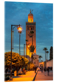 Cuadro de metacrilato  The Minaret of Koutoubia Mosque illuminated at night, UNESCO World Heritage Site, Marrakech, Morocco - Martin Child