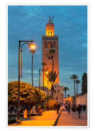 Póster  The Minaret of Koutoubia Mosque illuminated at night, UNESCO World Heritage Site, Marrakech, Morocco - Martin Child