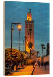 Cuadro de madera  The Minaret of Koutoubia Mosque illuminated at night, UNESCO World Heritage Site, Marrakech, Morocco - Martin Child