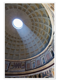 Póster  A shaft of light through the dome of the Pantheon, UNESCO World Heritage Site, Rome, Lazio, Italy, E - Martin Child