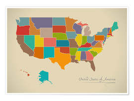 Póster  Modern Map of USA Artwork Design - Ingo Menhard