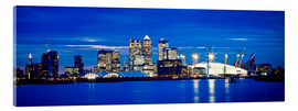 Cuadro de metacrilato  Panoramic view of London skyline over the River Thames featuring Canary Wharf, O2 Arena and The Shar - Ian Egner