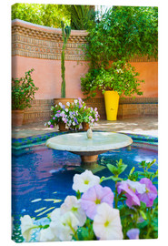 Lienzo  Fountain and flowers in the Majorelle Gardens (Gardens of Yves Saint-Laurent), Marrakech, Morocco, N - Matthew Williams-Ellis