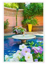 Póster  Fountain and flowers in the Majorelle Gardens (Gardens of Yves Saint-Laurent), Marrakech, Morocco, N - Matthew Williams-Ellis