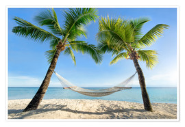 Póster  Hammock at the beach with palm trees in the south pacific - Jan Christopher Becke
