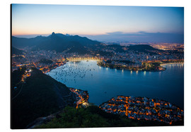 Cuadro de aluminio  View from the Sugarloaf at sunset, Rio de Janeiro, Brazil, South America - Michael Runkel