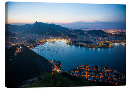Lienzo  View from the Sugarloaf at sunset, Rio de Janeiro, Brazil, South America - Michael Runkel