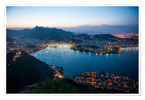 Póster View from the Sugarloaf at sunset, Rio de Janeiro, Brazil, South America