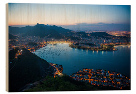 Cuadro de madera  View from the Sugarloaf at sunset, Rio de Janeiro, Brazil, South America - Michael Runkel