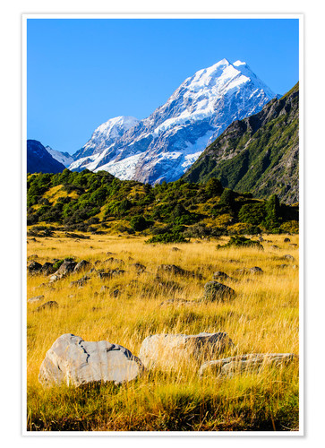 Póster Mount Cook highest mountain in New Zealand, South Island
