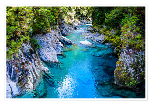 Póster The stunning Blue Pools, Haast Pass, South Island, New Zealand