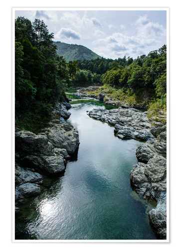 Póster River contributing water to the Marlborough Sounds, South Island, New Zealand, Pacific
