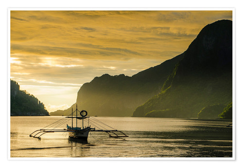 Póster Outrigger in the bay of El Nido