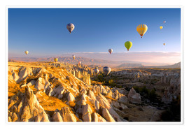 Póster  Hot air balloons over Cappadocia - David Clapp