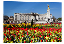 Cuadro de metacrilato  Buckingham Palace and Queen Victoria Monument with tulips, London, England, United Kingdom, Europe - Stuart Black