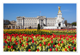 Póster Buckingham Palace and Queen Victoria Monument with tulips, London, England, United Kingdom, Europe
