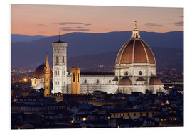 Cuadro de PVC  Duomo at night from Piazza Michelangelo, Florence, UNESCO World Heritage Site, Tuscany, Italy, Europ - Stuart Black