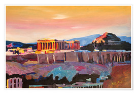 Póster  Athens Greece Acropolis At Sunset - M. Bleichner