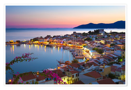 Póster  Harbour at dusk, Pythagorion, Samos, Aegean Islands, Greek Islands, Greece, Europe - Stuart Black