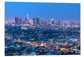 Cuadro de PVC  Cityscape of the Los Angeles skyline at dusk, Los Angeles, California, United States of America, Nor - Chris Hepburn