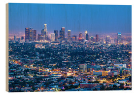 Cuadro de madera  Cityscape of the Los Angeles skyline at dusk, Los Angeles, California, United States of America, Nor - Chris Hepburn
