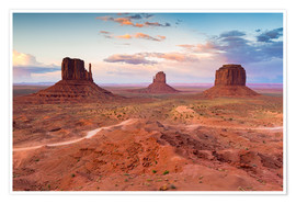 Póster Monument Valley at dusk