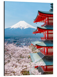 Cuadro de aluminio  Chureito Pagoda with Fuji and cherry blossoms - Jan Christopher Becke