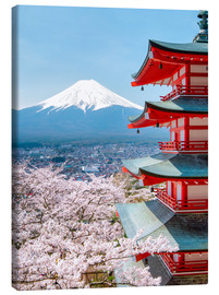 Lienzo  Chureito Pagoda with Fuji and cherry blossoms - Jan Christopher Becke