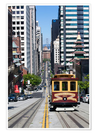 Póster  Cable car crossing California Street - Gavin Hellier