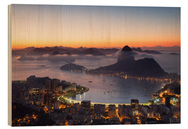 Cuadro de madera  Sugarloaf Mountain and Botafogo Bay - Ian Trower