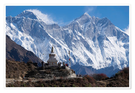 Póster  Tenzing Norgye Stupa y Monte Everest - John Woodworth