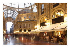 Póster Restaurant, Galleria Vittorio Emanuele, Milan, Lombardy, Italy, Europe