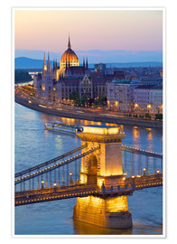 Póster Budapest with River Danube