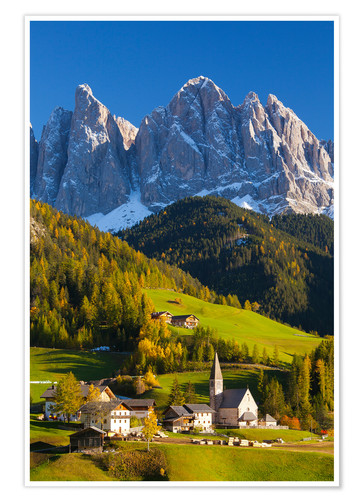 Póster St. Magdalena, Val di Funes, Trentino-Alto Adige, Dolomites, South Tyrol, Italy, Europe