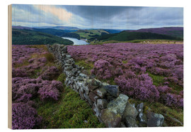 Cuadro de madera  Heather covered Bamford Moor and dry stone wall - Eleanor Scriven