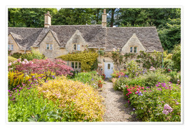 Póster Romantic Cottage garden in the Cotswolds (England)