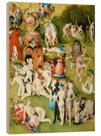Cuadro de madera  Garden of Earthly Delights, mankind before the Flood (detail) - Hieronymus Bosch