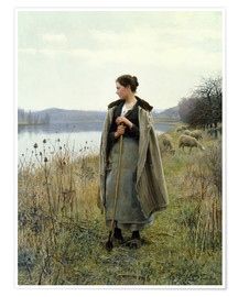 Póster  The Shepherdess of Rolleboise - Daniel Ridgway Knight