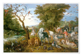 Póster Noah leads the animals into the ark