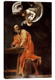 Lienzo  The inspiration of St Matthew - Michelangelo Merisi (Caravaggio)
