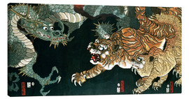 Lienzo  A dragon and two tigers - Utagawa Sadahide