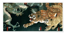 Póster  A dragon and two tigers - Utagawa Sadahide